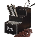 Corporate Faux Leather Desk Organizer with Treats