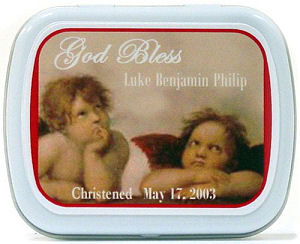 Filled Cherub Motif Christening Tin Favor imagerjs