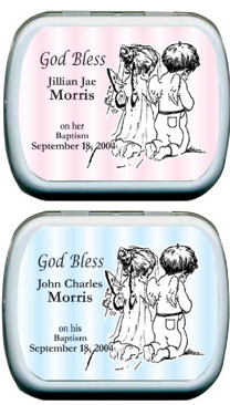 Filled Striped Kneeling Angels Candy Tin Favors imagerjs