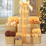 Golden Decadence Holiday Treats Tower Gift