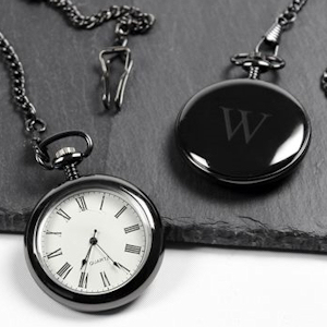 Personalized Gunmetal Finish Pocket Watch imagerjs