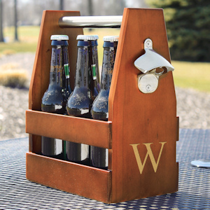Personalized Wooden Craft Beer Carrier with Opener imagerjs