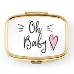 Oh Baby Blue or Pink Small Gold Keepsake Tooth Box