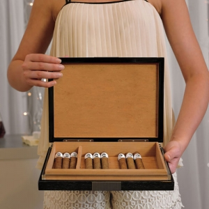 Premium Cigar Humidor with Hydrometer & Humidifier imagerjs