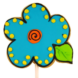 Blue Bud Flower Decorated Sugar Cookie Favor imagerjs