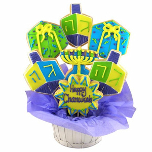 Hanukkah Dreidel Kosher Cookie Bouquet imagerjs