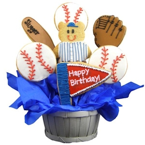 Home Run Birthday Baseball Sugar Cookie Bouquet imagerjs