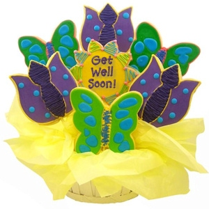 Butterflies and Tulips Get Well Soon Sugar Cookie Bouquet imagerjs