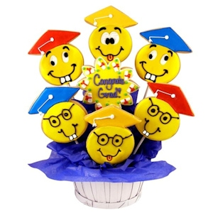 Congrats Grad Happy Faces Sugar Cookie Basket imagerjs