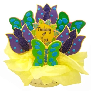Butterflies & Tulips Sugar Cookie Basket - Thinking of You imagerjs