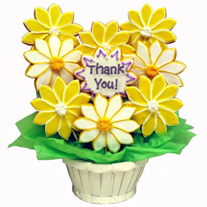 Daisies Sugar Cookie Basket - Thank You imagerjs