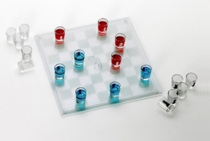 Engraved Shot Glass Checkers Set image