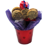 Valentine Metallic Heart Cookie Bouquet Pot