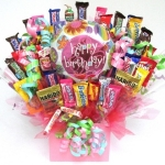 Pretty in Pink Birthday Candy Bouquet Arrangement