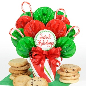 Candy Cane Christmas Cookie Bouquet Gift image