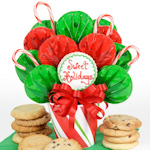 Candy Cane Christmas Cookie Bouquet Gift
