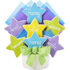 WOW Star Cutout Congratulations Cookie Bouquet image