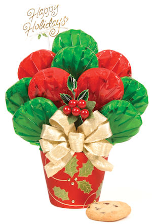 Happy Holidays Cookie Bouquet in Holly Pot image