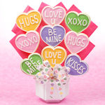 Valentine Conversation Hearts Cutout Cookie Bouquet