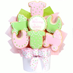 It's A Girl Baby Cookie Bouquet