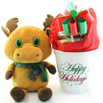 Holiday Plush Reindeer & Cookie Planter