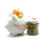 Personalized Pink Piggy Bank with Cookies