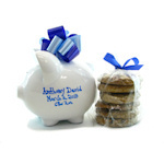 Personalized Blue Piggy Bank with Cookies