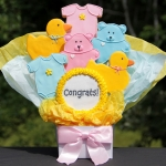 Pink & Blue Gender Neutral Baby Cookie Bouquet