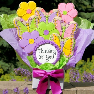 Thinking of You Flower & Butterfly Cookie Bouquet image