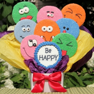 Be Happy Funny Faces Cookie Bouquet image