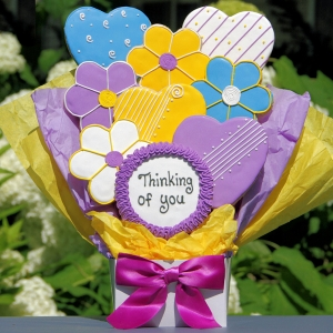 Cookie Bouquet - Thinking of You Hearts and Flowers image
