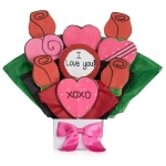 Lovely Hearts Valentine Cookie Bouquet