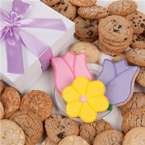 Tulips and Daisy Gourmet Cookies Gift Box image