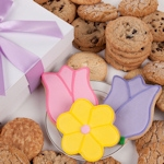 Tulips and Daisy Gourmet Cookies Gift Box