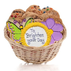 Flower & Butterfly Cookie Basket Gift image