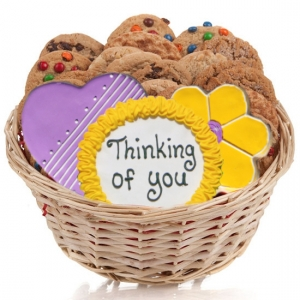 Cookie Gift Basket - Heart & Flower image