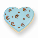 Blue with Brown Swirl Heart Cookie Favor