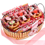 Chocolate Dipped Valentine Pretzel Basket