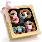 New Baby Chocolate Dipped Pretzel Twists - Box of 12