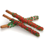 Holly and Berry Sprinkle Pretzel Wand Favors