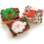 Chocolate Dipped Christmas Rice Krispie Bars