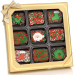 Christmas Chocolate Dipped Mini Krispies Gift