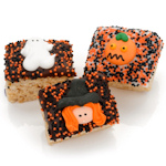 Halloween Chocolate Dipped Mini Rice Krispie Bars