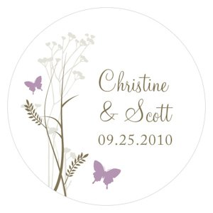 Romantic Butterfly Round Stickers (2 Sizes) image