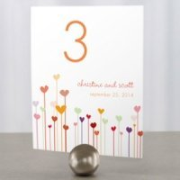 Personalized Hearts Table Number Cards (4 Colors)