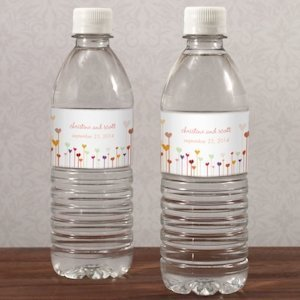 Cutomized Hearts Wedding Water Bottle Labels (Set of 10) image
