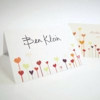 Personalized Hearts Wedding Place Cards (Set of 6)
