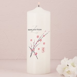 Cherry Blossom Personalized Pillar Candle image