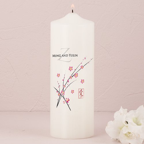 Cherry Blossom Personalized Pillar Candle
