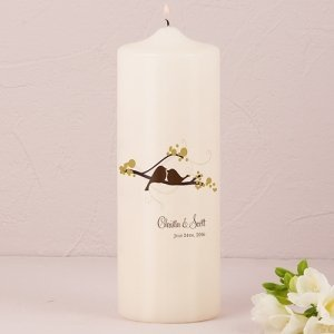 Love Birds Personalized Pillar Candle (4 Colors) image
